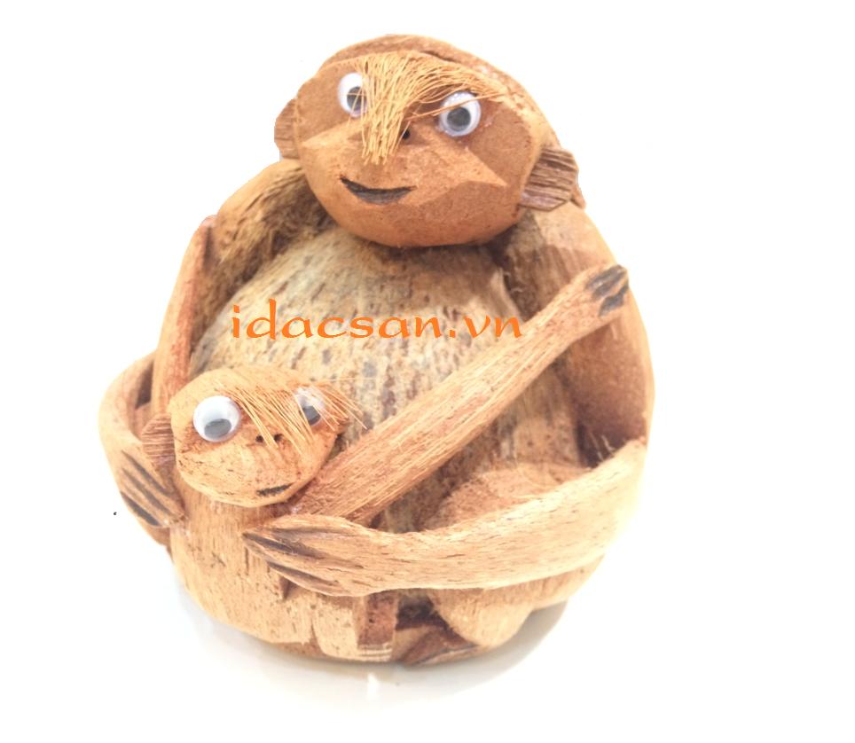khỉ mẹ bồng con bằng trái dừa thủ công mỹ nghệ bến tre đức phát